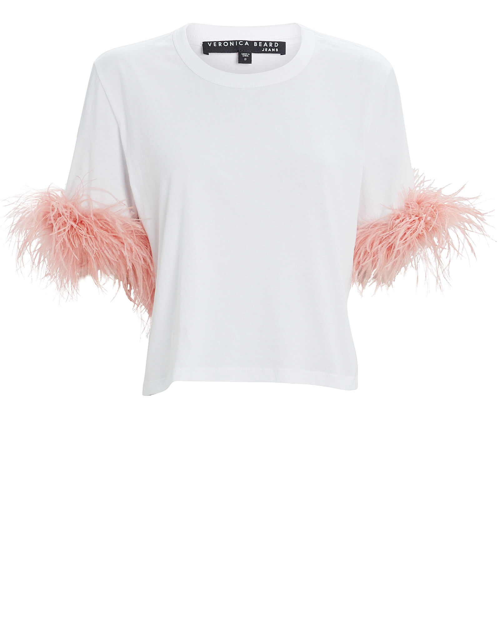 Wanda Feather-Trimmed T-Shirt, WHITE, hi-res