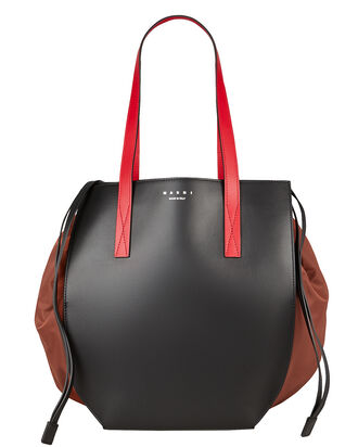 Leather Drawstring Tote Bag, BLACK/RED, hi-res