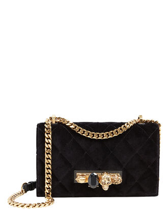Skull Jewel Velvet Crossbody, BLACK/GOLD, hi-res