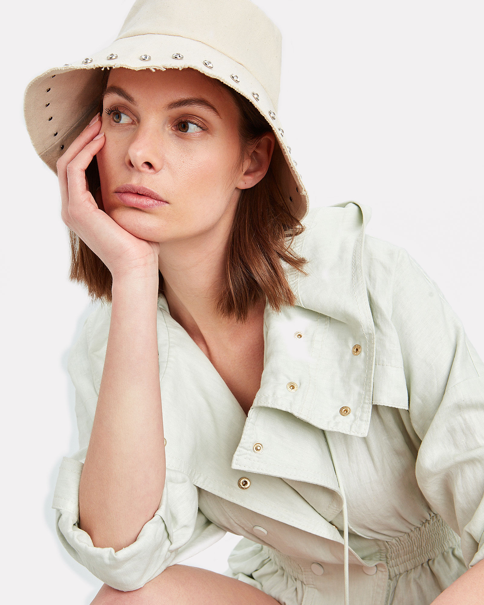 Louise Canvas Bucket Hat, IVORY, hi-res