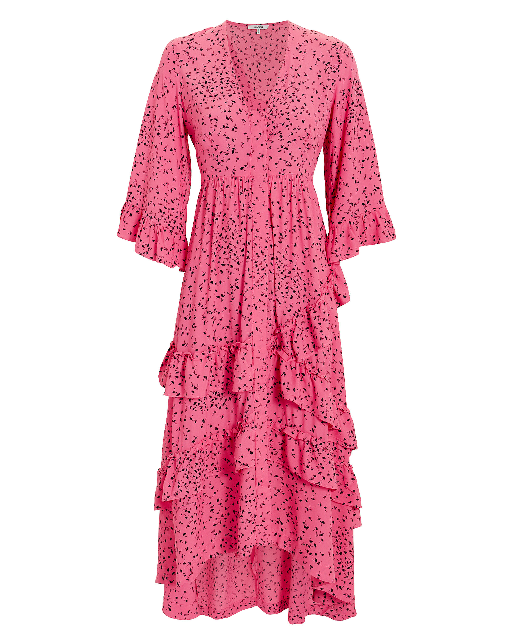 Barra Crepe Ruffle Maxi Dress, PINK, hi-res