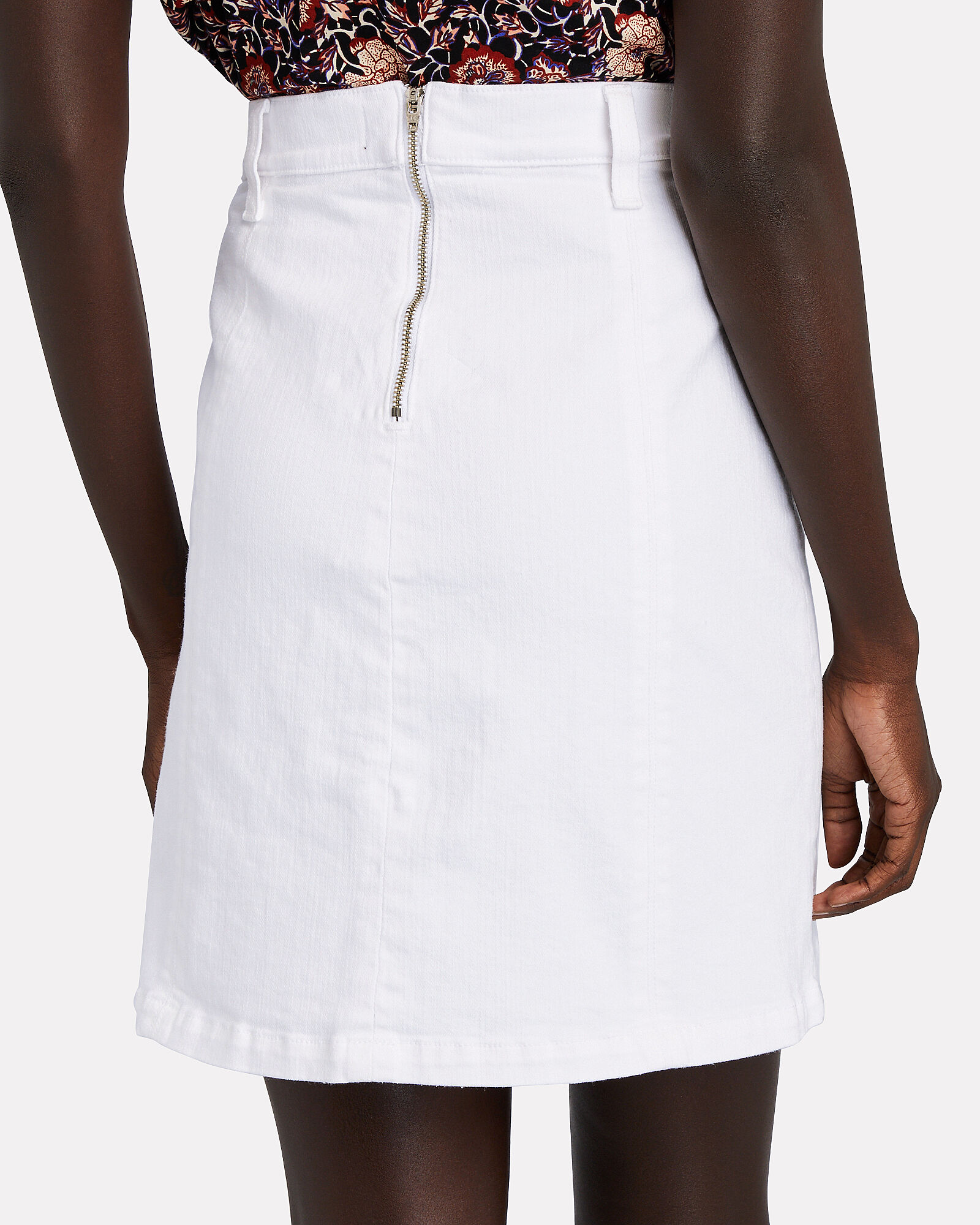 Deena Denim Mini Skirt, WHITE, hi-res