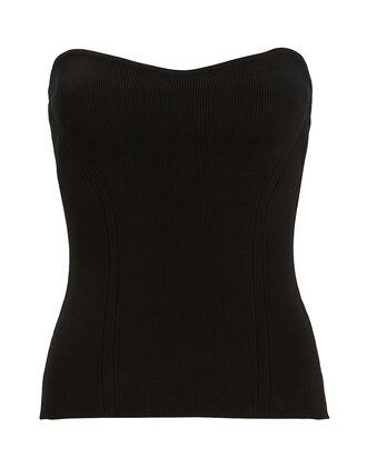 Strapless Rib Knit Top, BLACK, hi-res