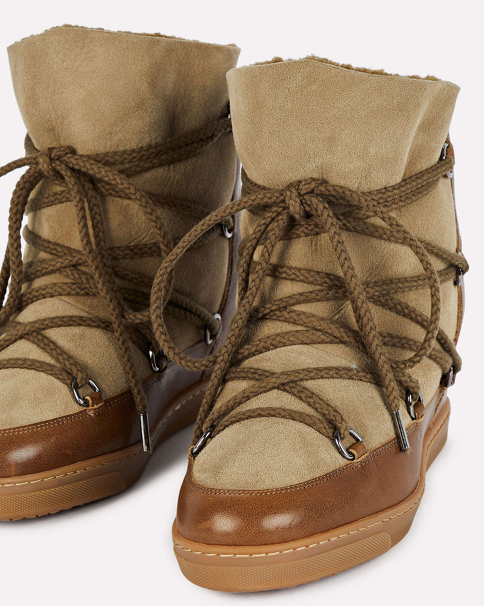 Nowles Leather-Trimmed Shearling Booties, BROWN, hi-res