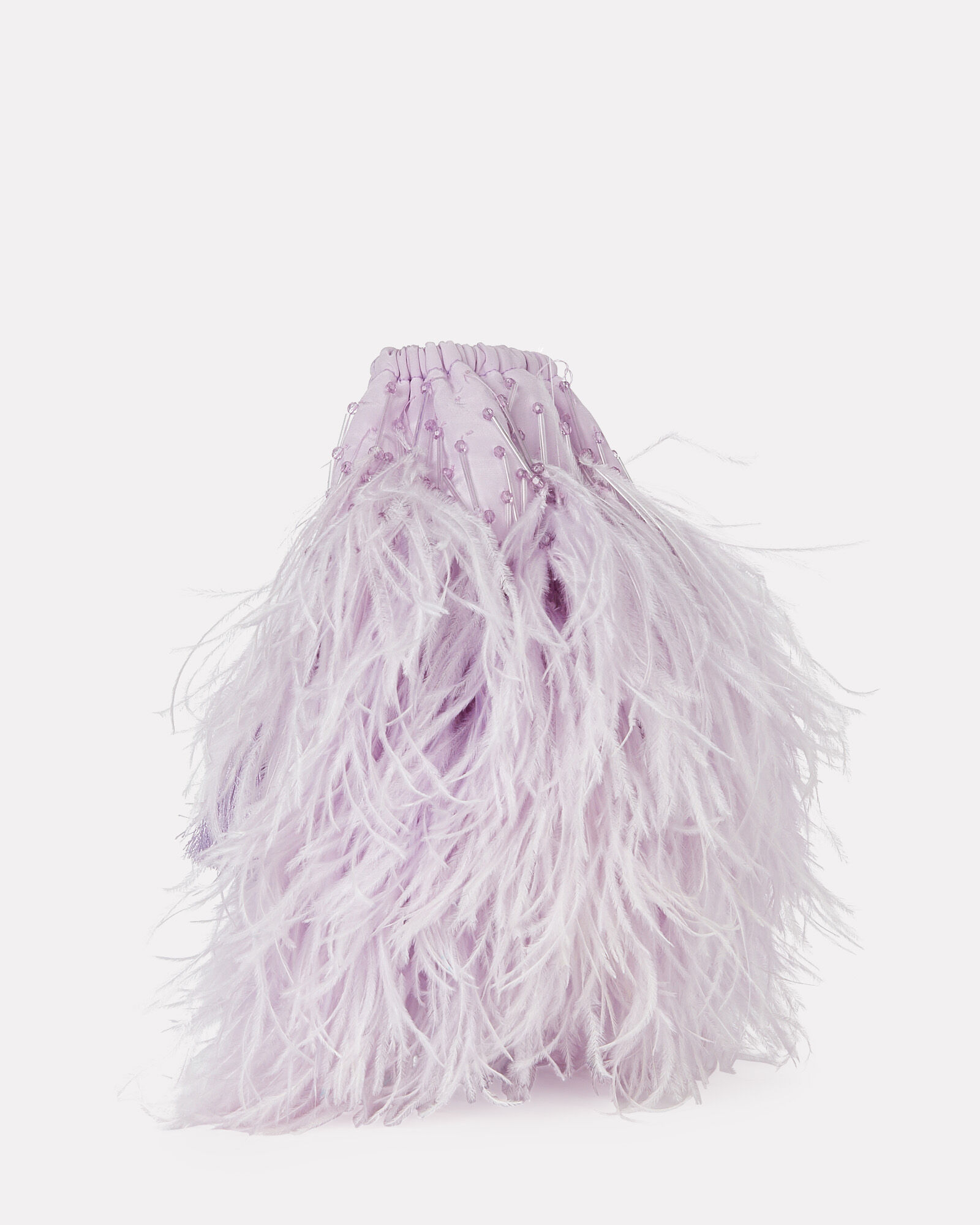 Feather-Trimmed Drawstring Pouch, PURPLE-LT, hi-res