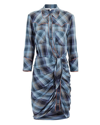 Sierra Blue Plaid Shirtdress, BLUE-MED, hi-res