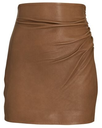 Ruched Leather Mini Skirt, BROWN, hi-res