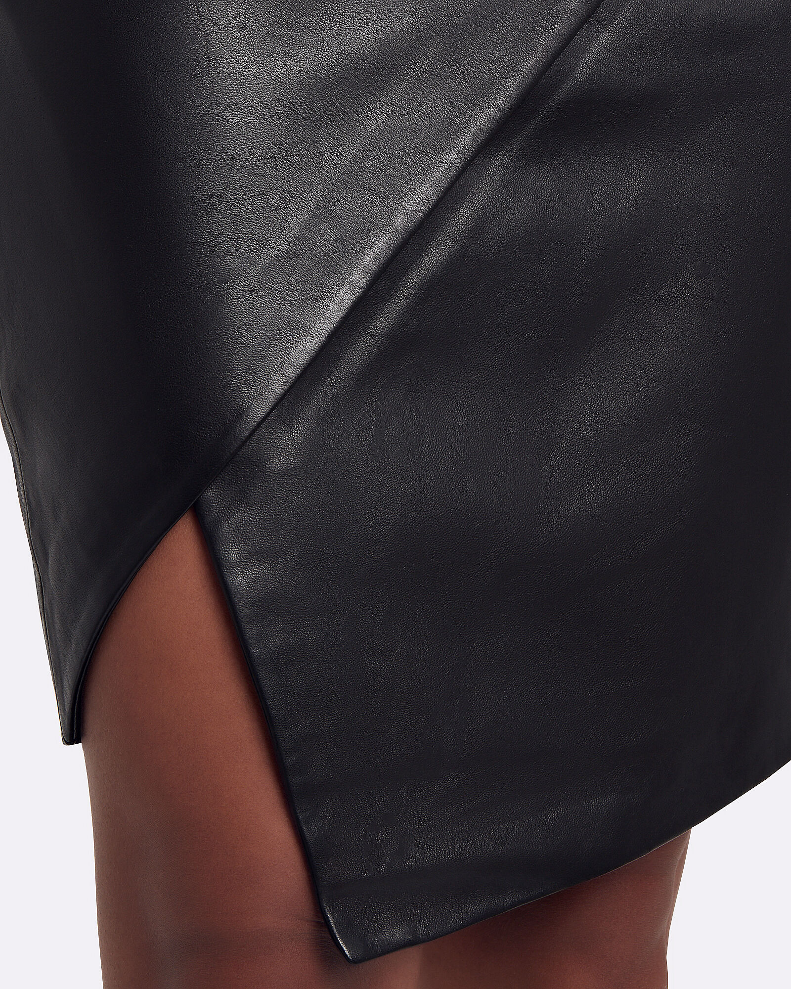 Lambskin Leather Asymmetrical Skirt, BLACK, hi-res