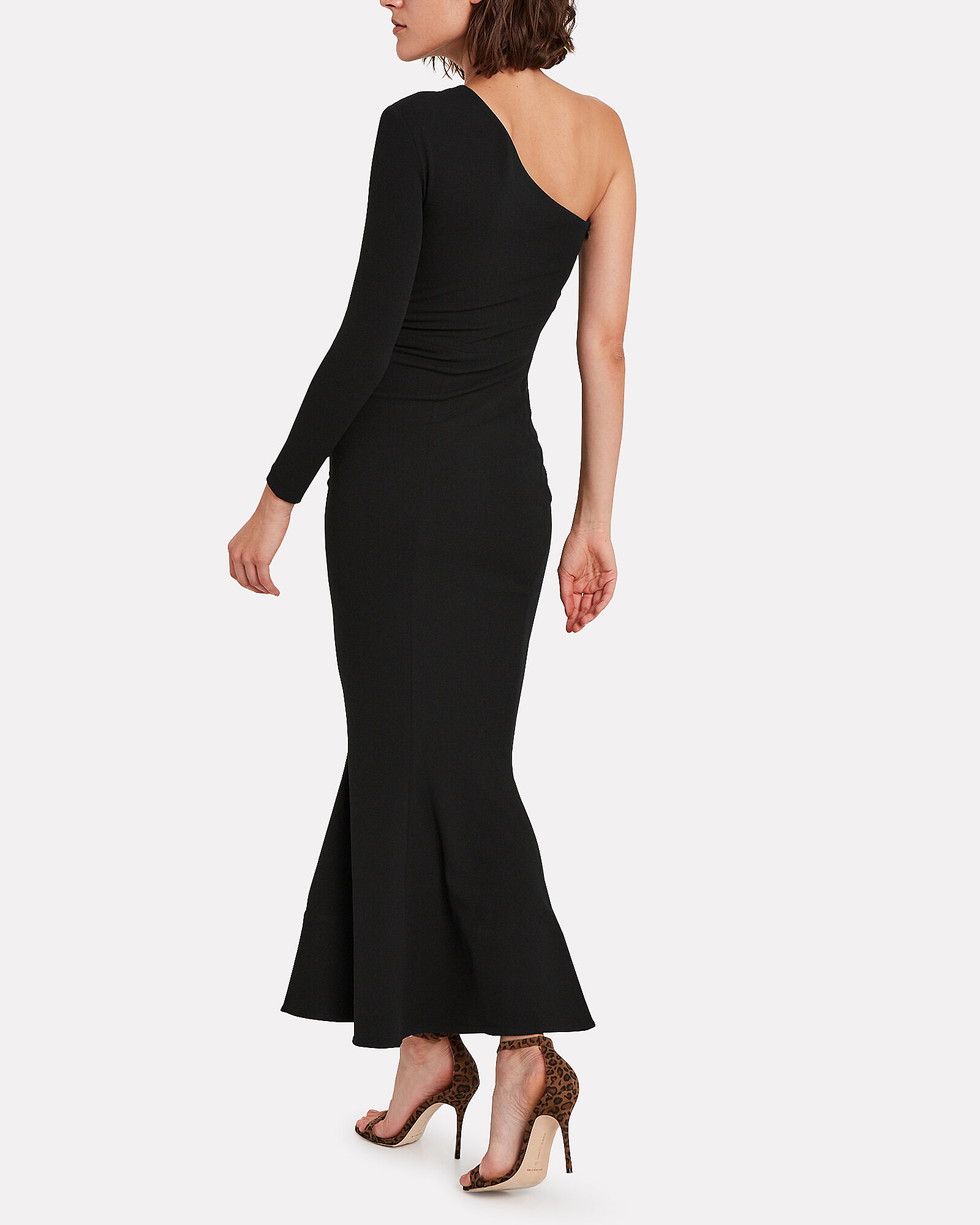 Sala Flared One-Shoulder Dress, BLACK, hi-res