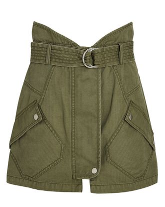 Belted Cotton Twill Mini Skirt, GREEN, hi-res