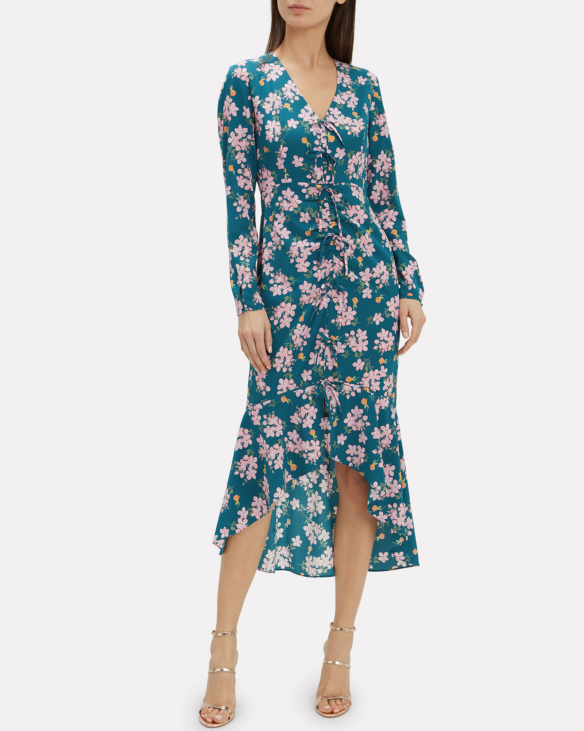 Adrina Printed Dress, GREEN, hi-res