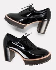 Brogue Patent Leather Pumps, BLACK, hi-res