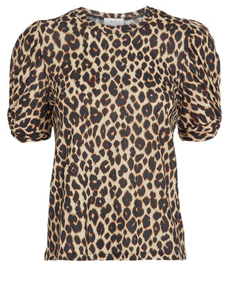 Kati Puff Sleeve T-Shirt, BROWN/LEOPARD, hi-res