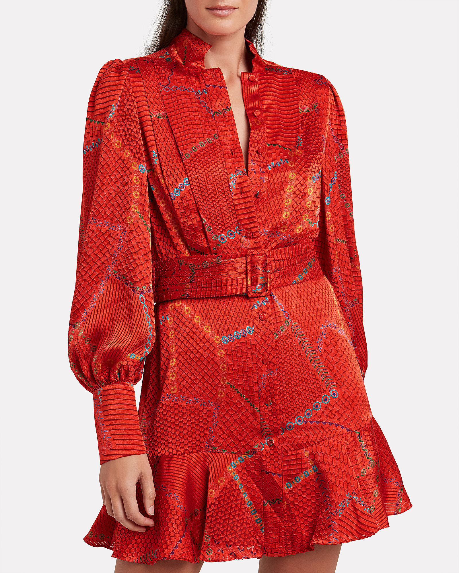Lishan Printed Mini Dress, RED/GEO PRINT, hi-res