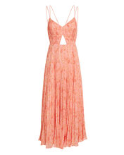 Lucy Pleated Maxi Dress, CORAL, hi-res