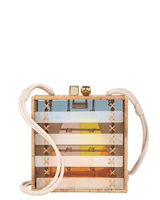 Oiticica Lucite and Rattan Box Bag, PASTEL RAINBOW, hi-res