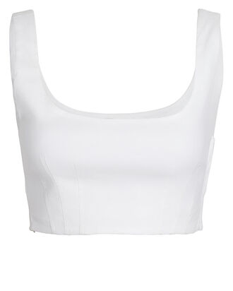 Kamila Sleeveless Linen-Blend Crop Top, WHITE, hi-res