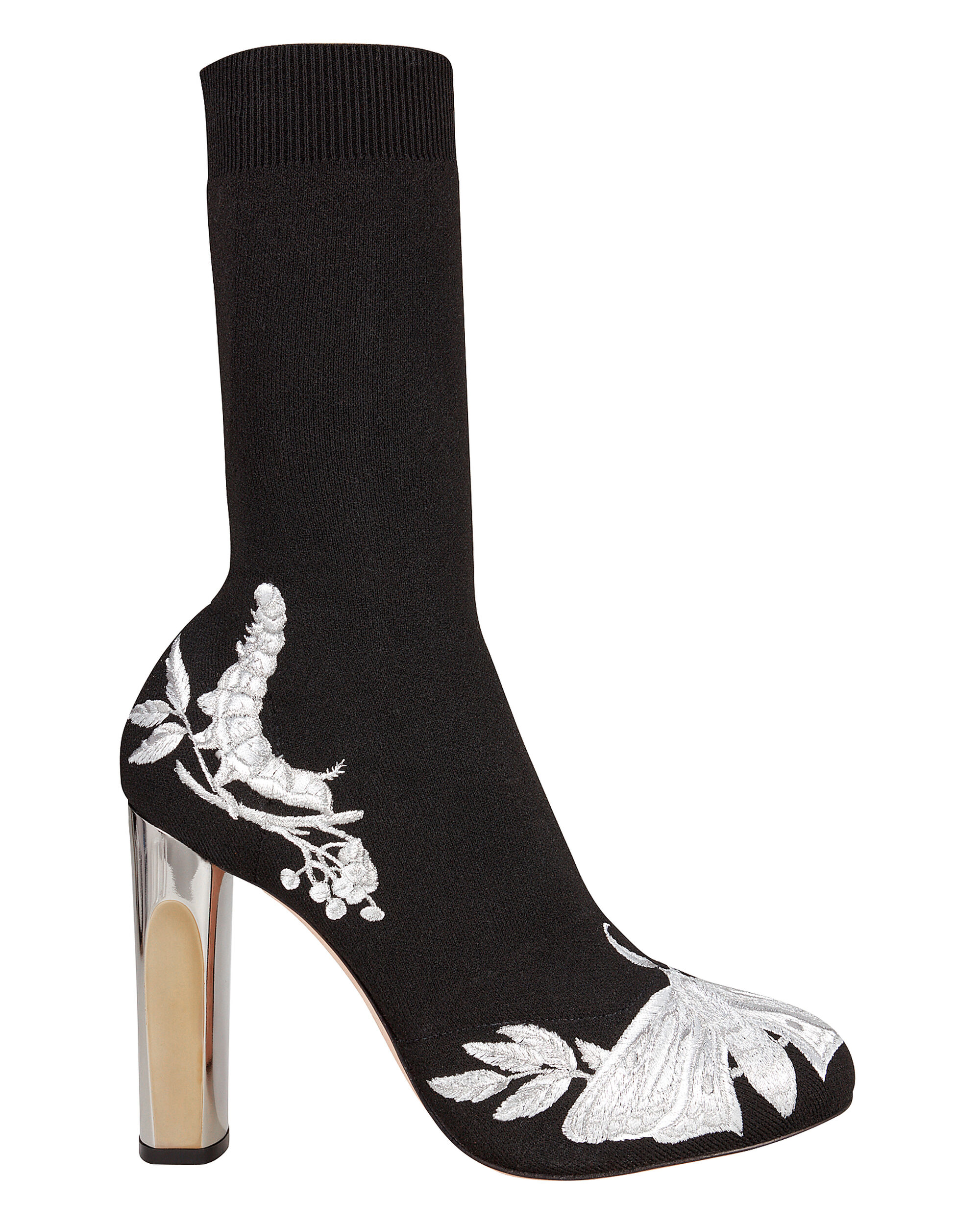 Embroidered Sock Booties, BLACK, hi-res