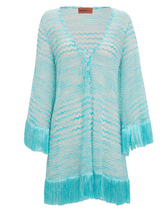 Fringe Kaftan Cover-Up, Blue, hi-res