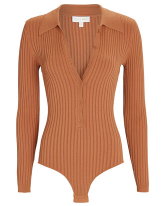 Cyndie Rib Knit Polo Bodysuit, BROWN, hi-res