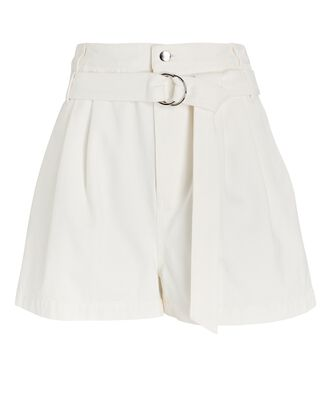 Belted Denim Shorts, WHITE, hi-res
