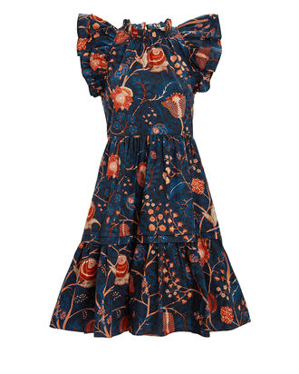 Eden Floral Poplin Mini Dress, NAVY, hi-res