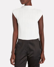 Mushroom Pleated High Neck Top, WHITE, hi-res