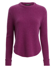 Ribbed Wool Pull-Over Sweater, PURPLE-DRK, hi-res
