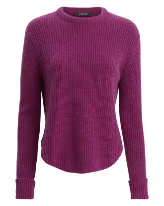 Shirttail Hem Ribbed Sweater, MERLOT PURPLE, hi-res