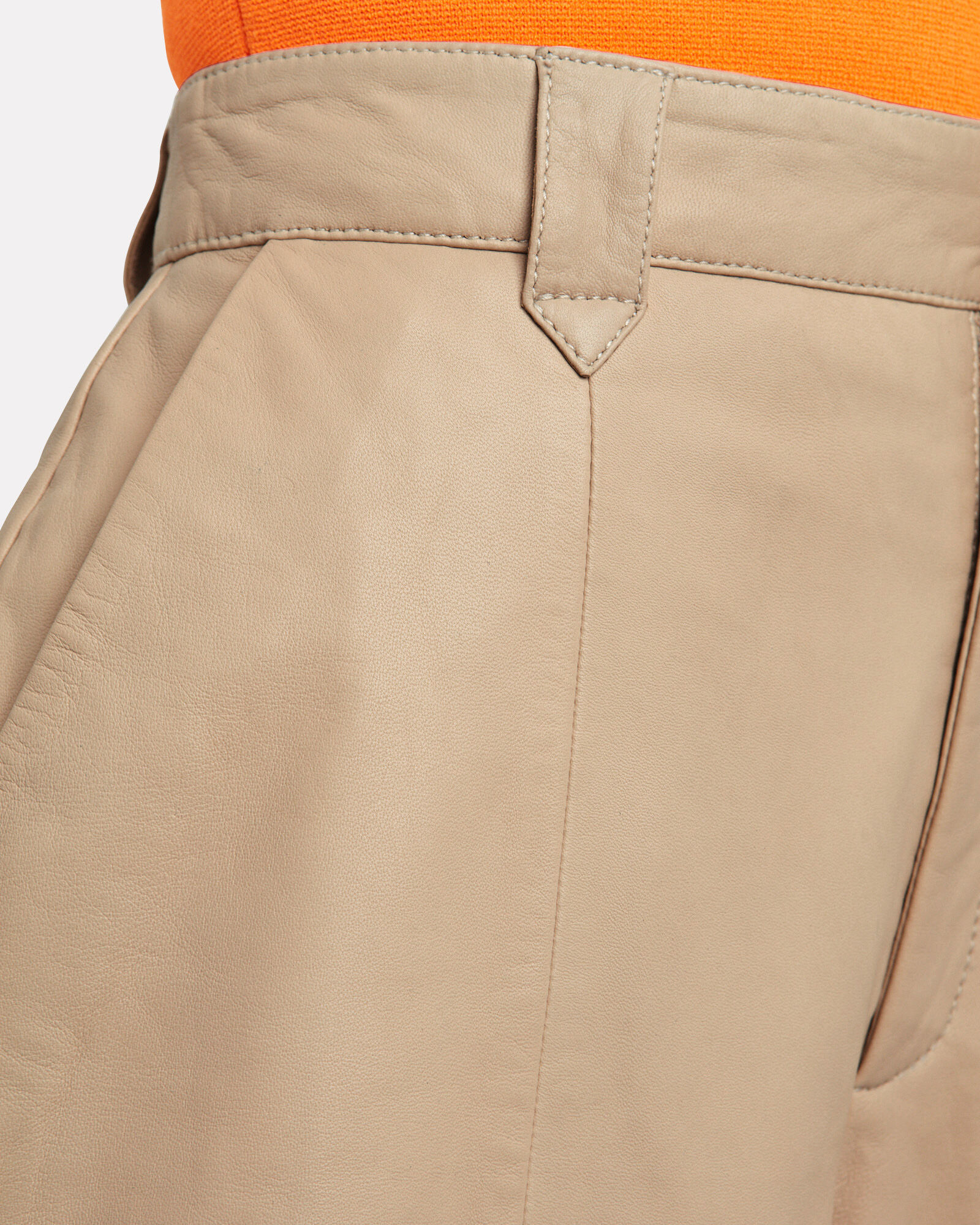 Suri High-Rise Leather Shorts, BEIGE, hi-res