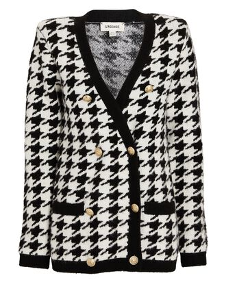 Maddy Double-Breasted Houndstooth Cardigan, MULTI, hi-res