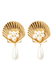 Positano Shell Clip-On Earrings, GOLD, hi-res