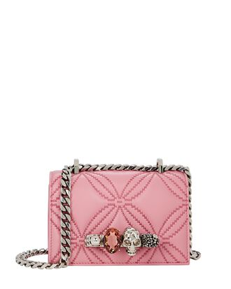 Mini Jewelled Quilted Leather Satchel, PINK, hi-res