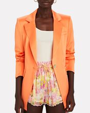 Erie Fitted Satin Blazer, ORANGE, hi-res
