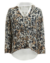Leopard Layered V-Neck Sweater, MULTI, hi-res