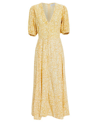 Delia Midi Dress, YELLOW/PYTHON, hi-res