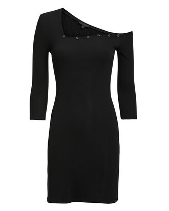 Tilted Ribbed Jersey Henley Dress, BLACK, hi-res
