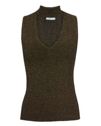 Colby Choker Neck Knit Tank, METALLIC, hi-res
