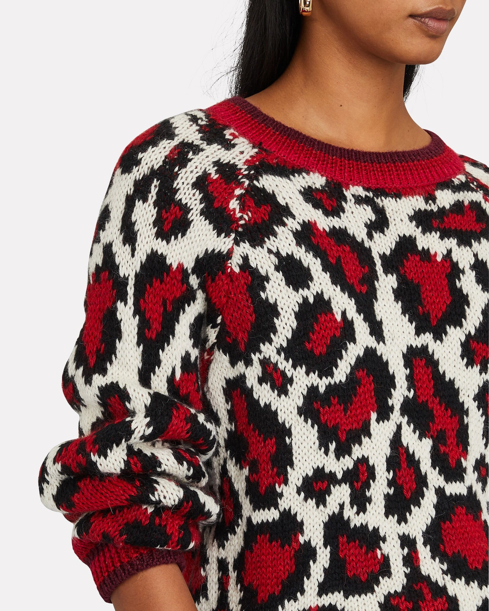 The Boat Square Leopard Sweater, IVORY/RED/BLACK, hi-res