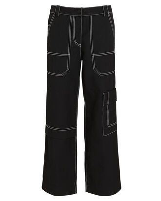 Cropped Cotton-Blend Twill Cargo Pants, BLACK, hi-res