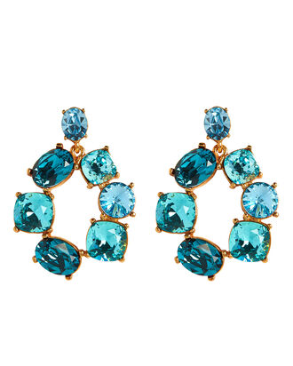 Bold Crystal Circle Earrings, BLUE, hi-res