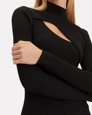Cutout Rib Knit Turtleneck, BLACK, hi-res