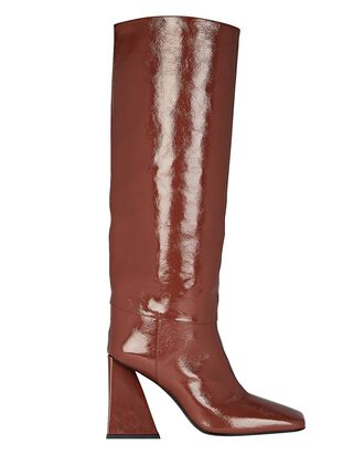 Devon Patent Leather Knee-High Boots, BROWN, hi-res