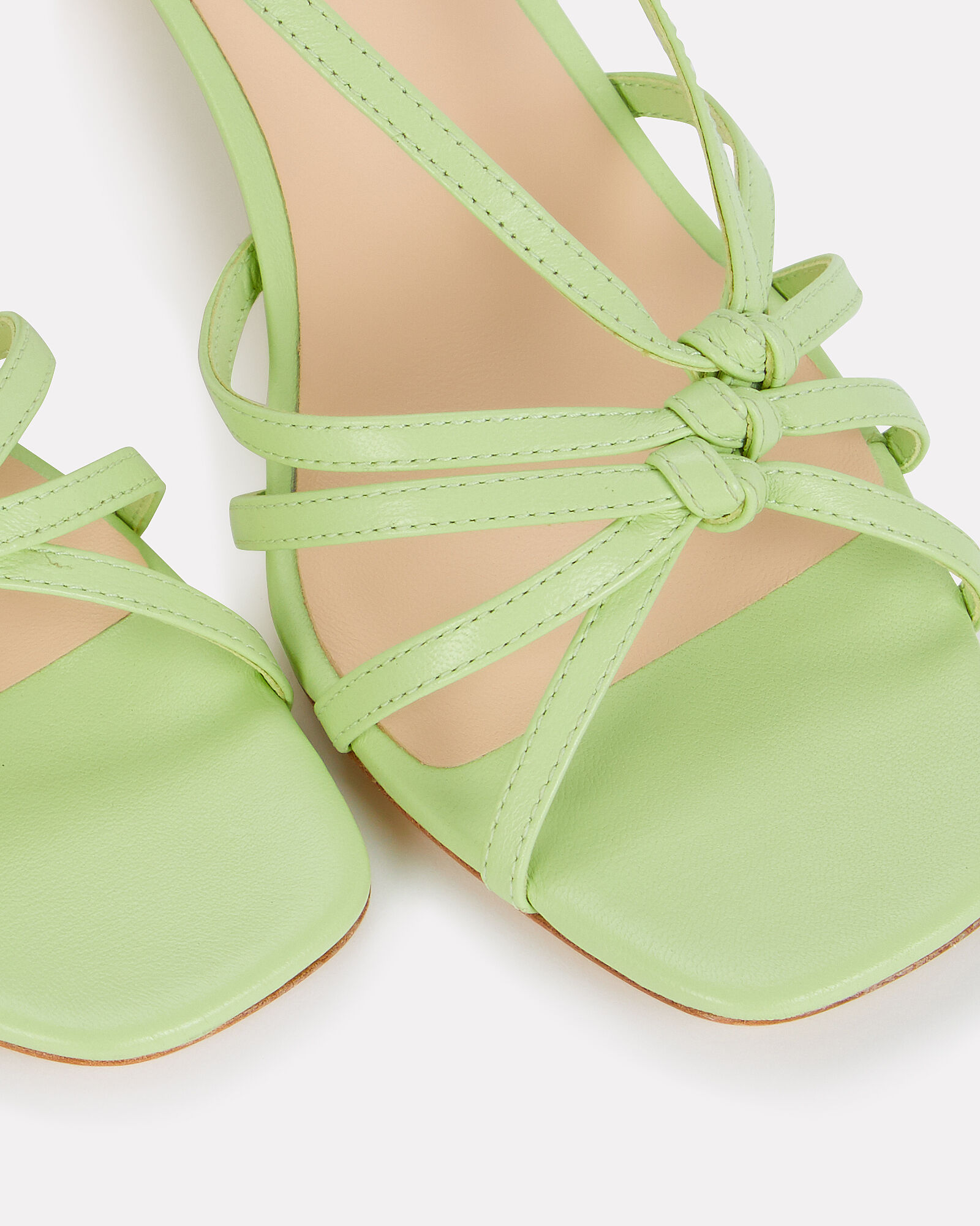 Libby Knotted Leather Sandals, PALE GREEN, hi-res