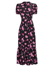 Dylan Floral Flounce Midi Dress, BLACK/PURPLE FLORAL, hi-res