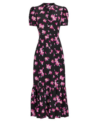 Dylan Floral Flounce Midi Dress, MULTI, hi-res