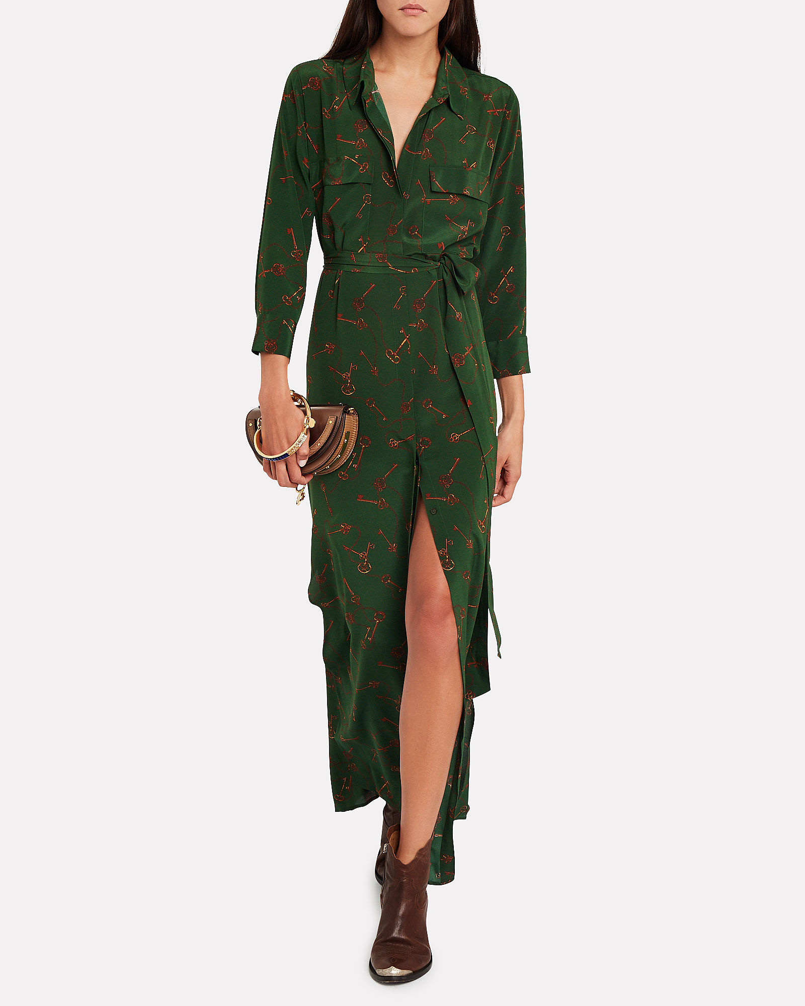 Cameron Key-Printed Silk Shirt Dress, MULTI, hi-res