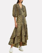 Leopard Yellow Wrap Maxi Dress, MULTI, hi-res