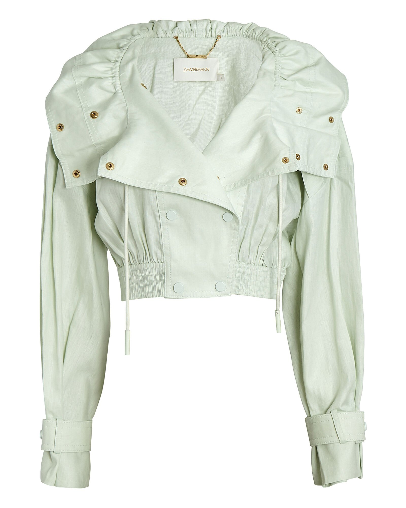 Glassy Cropped Linen Jacket, GREEN-LT, hi-res