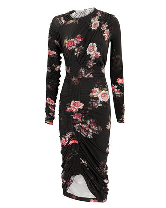 Rene Floral Ruched Dress, BLACK, hi-res